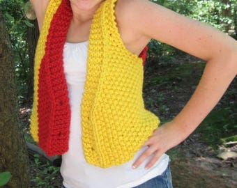 School or Team Colors Vest Knitting Pattern for  Teen to Adult