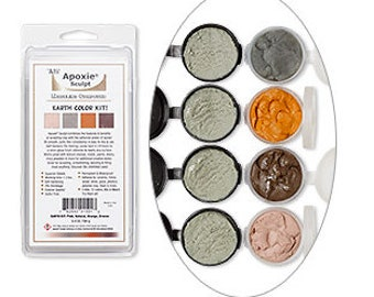 EARTH COLOR Kit includes: 4 Colors of  Apoxie Sculpt -  DIY, Snap Jewelry, Aves, Apoxie Sculpt, Clay Snaps, Found Objects, Steampunk