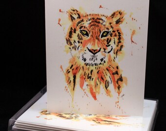 Set of Original PRINT Watercolor Tiger cards, Animal Note Cards/Greeting Cards (Set of Four), Tiger  Cards, Watercolor Cards