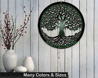 Tree of Life 20in Baltic Birch Black Metallic Base Wall Art w/ Optional Custom Text