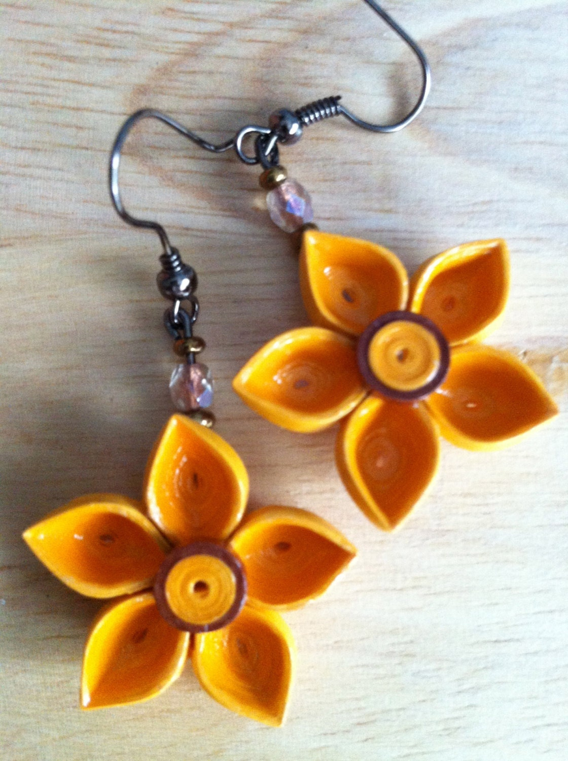 Quilled Flower Earrings Golden Yellow With Brown Rimmed