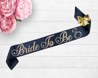 Bride To Be Sash, Future Mrs Sash, Bachelorette Sash, Bride To Be Gift, Bridal Shower Sash, Glitter Sash, Custom Personalized Navy Sash