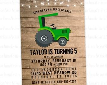 tractor birthday invitation, green tractor invitation, kids farm party invitation, digital wood invitation printable or printed invites