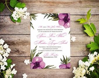 """Floral Invitation Watercolor Wedding Invitation - Mauve Wedding """"Everlasting"""" Watercolor Invitation - Watercolor Flowers Invitation"""
