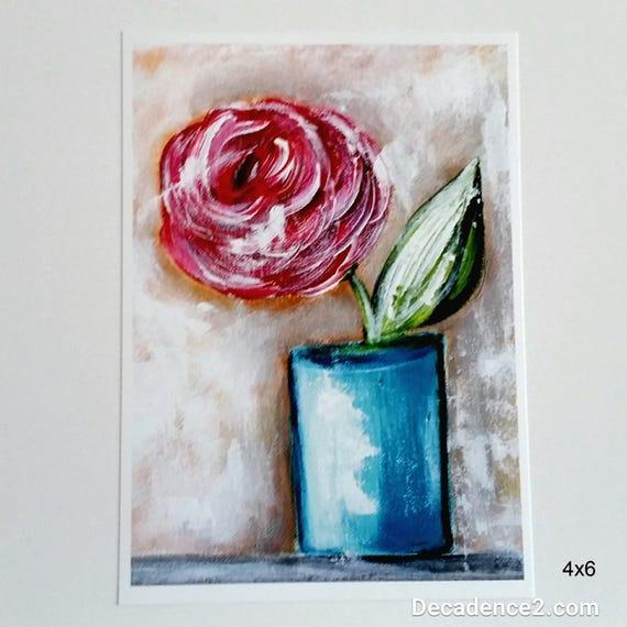 Red Flower in Blue Vase, Art Print, Floral Print, Flower Print