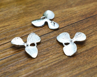 10pcs Silver Plated Brass Orchid Flower Charm Pendants 18mm LB503-2