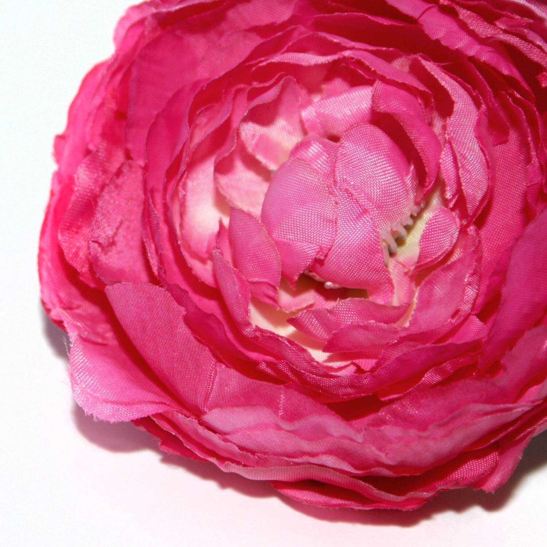 Large Dark Pink or Fuchsia Ranunculus - Silk Flowers, Artificial ...