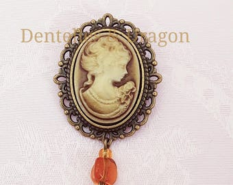 Camellia, Victorian style cameo brooch
