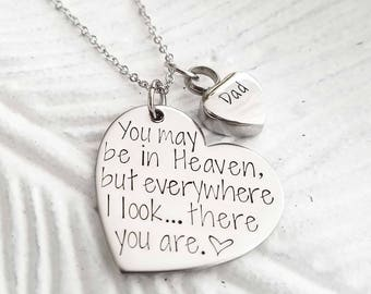 Cremation jewelry - Memorial necklace - Ashes necklace - Urn necklace - Sympathy gift - Angel wing urn necklace - Silver urn necklace
