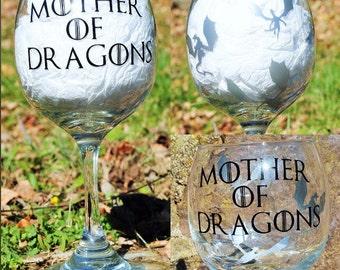 Mother of Dragons- Game of Thrones Wine Glass-- GOT- 21 oz-  Geeky Gift Ideas- Khaleesi, Daenerys Targaryen,