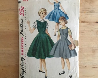 Vintage 1950s Simplicity 1291 Pattern, Girls empire waist full skirt dress with matching short sleeve blouse Size 8 Breat 26""