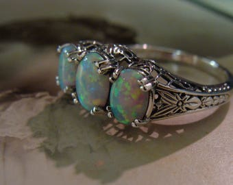 Lovely Sterling Silver Opal  3 stone filigree  Ring  Size 6
