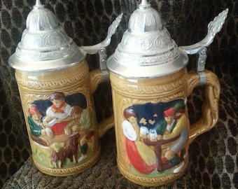 Pair of German Steins