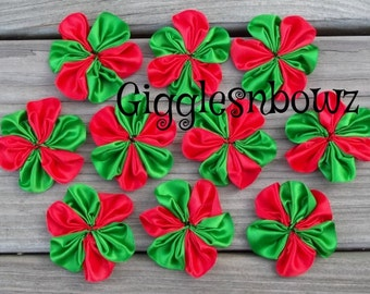 10 pc CHRiSTMaS- TWO ToNE ReD/ EMERaLD GReeN SaTIN RiBBON Flowers 2 Inch Size