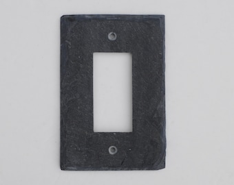 Decorative Rocker light switch cover, GFCI GFI Decora Outlet Plate, Wall Plate, Rustic, Stone, in Black, Stone light switch plate cover.