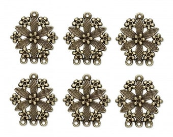 Focal Component 31x28mm Flower - 3 loops - package of 6 pieces fnt