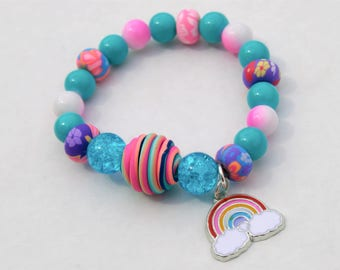 itm retro womens bead wood image bohemian women colorful ladies s bright fashion is loading rainbow bracelet