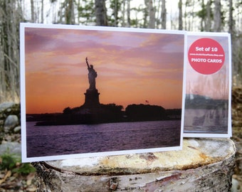 New York Statue of Liberty Sunset - Glossy Greeting Card - Set of 10