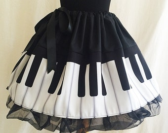 Piano Print skirts, Musician Clothes, Musician Skirt, ROOBY LANE
