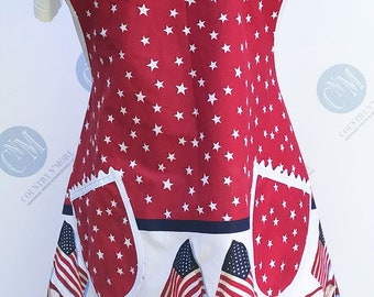 Patriotic Red, White, and Blue American Flag Vintage Style Apron (Plus Size)