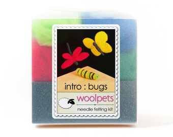 Needle Felting Starter Kit with Foam Pad, Needle Felted Bugs - Butterfly, Caterpillar, Dragonfly