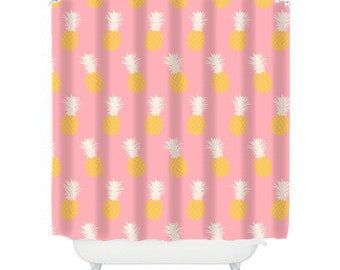 pineapple shower curtain pink bathroom decor teen girl bathroom pineapple decor fun shower curtain pink shower fun shower cool shower