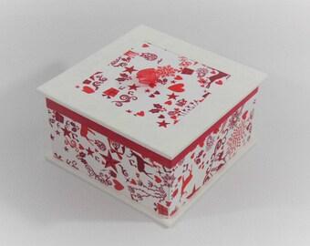 BOX Organizer white, red prints