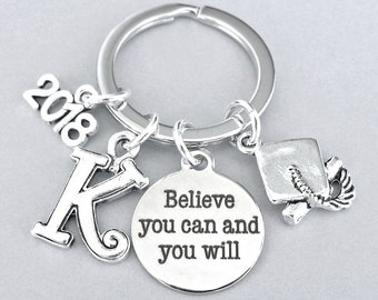 Personalized graduation gift, class of 2018, inspirational keyring, Believe you can and you will, unisex graduate keychain gift