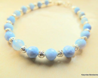 Blue Lace Agate and Sterling Silver Filigree Bracelet