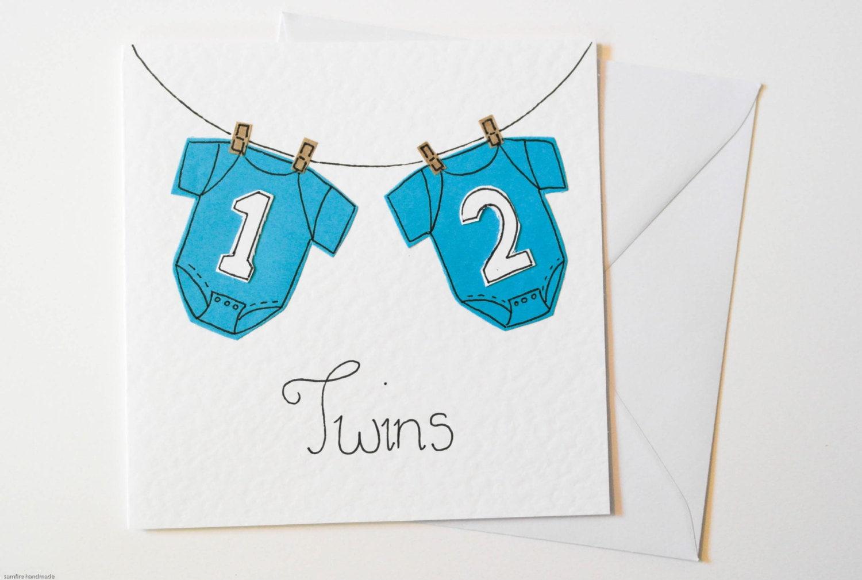 boy twins greeting card handmade new born card new baby twin