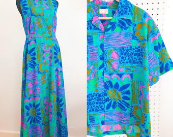 1960s Mod Hawaiian Tiki Maxi Dress and Matching Top Set - 1960s Cotton Tiki Maxi Dress - Vintage Tiki Hawaiian Button Up