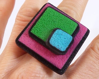 Intense colors polymer clay ring