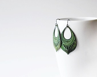 Verdigris Earrings / Verdigris Patina / Brass Earrings / Bohemian Earrings / Boho Earrings / YP