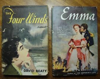 Set of Two Decorative Vintage Hardback Novels with Original Dust Jackets Emma & The Four Winds