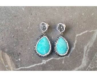 Dangle earrings with blue stone and marcasite crystals