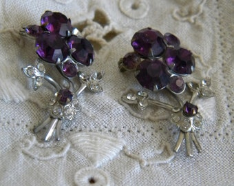 Lovely Pair of Vintage Purple & Silver Floral Pins