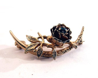 Vintage Gold Tone Brooch Rose Green Rhinestone Gorgeous