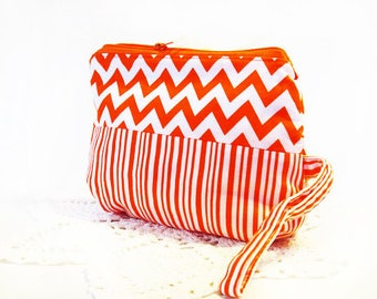 Accessory Bag - Cosmetic Bag - Accessory Bag - Makeup Organizer - Travel Bag - Teens - Essential Bag-  Chevron Bag