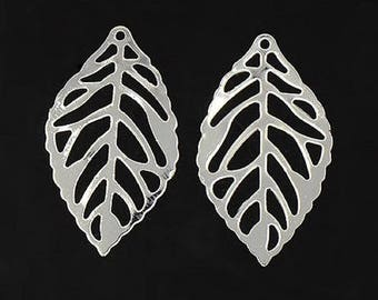set of 10 prints silver leaf pendant silver 24 x 14 mm new