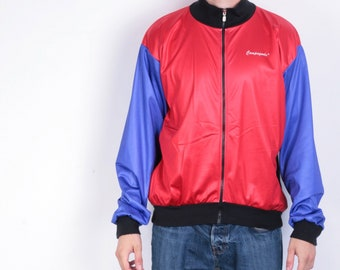 Campagnola Mens 7 L/XL Jacket Full Zipper Red Black Purple Long Sleeve Vintage 90s