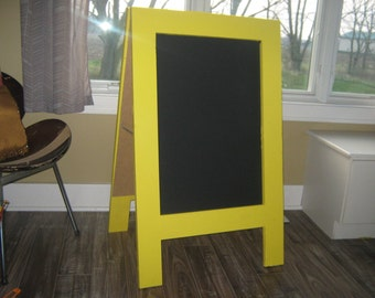Sidewalk chalkboard sun yellow two sided standing sandwich chalkboard  A framed chalk board double sided business wedding.
