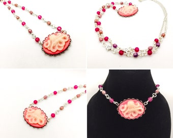 Pink Octopus Beaded Cameo Necklace