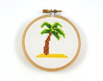 Palm tree cross stitch pattern, tropical cross stitch, palm tree pdf pattern, modern cross stitch, easy cross stitch, cross stitch chart