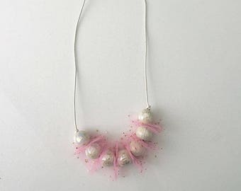 Pink Tulle Necklace