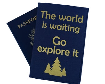 Travel quotes, the world is waiting go explore it, navy passport cover, navy and gold, passport holder, stripy lining, australian made