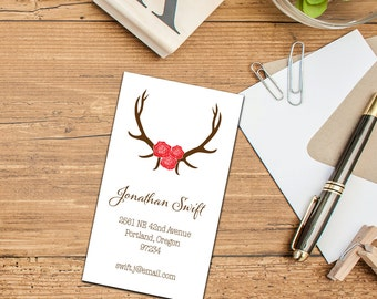 Antlers with Roses Calling Card, Custom Antlers Business Card, Set of 50 or 100 Calling Cards, Personalized Calling Cards