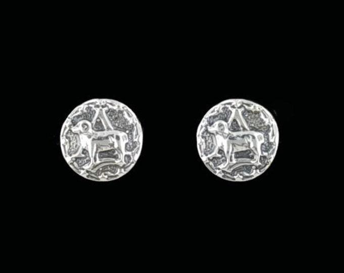 Gold Zodiac Stud Earrings Aries