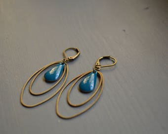 dangle drop earrings peacock blue - 2 rings oval bronze