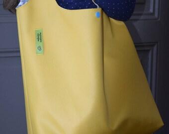 Yellow faux leather bag / yellow-blue palm print