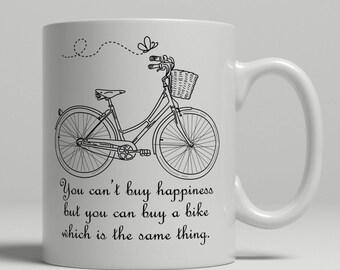 Cycling coffee mug, happiness mug, cycling gift idea cycling mug, cyclist coffee mug, retro cycling mug, retro bicycle mug, cycling